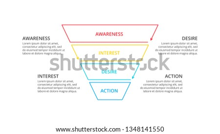 Thin line flat social media sales funnel infographic.