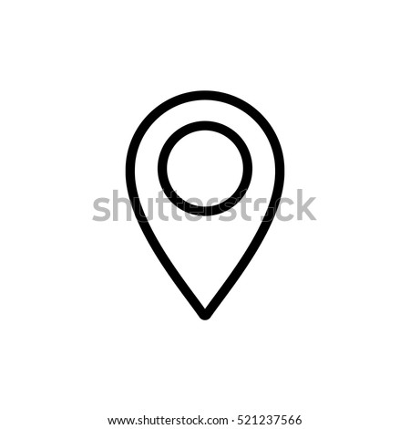 thin line google map, pin point, location icon on white background