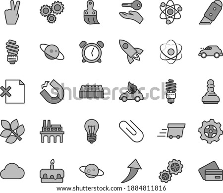Thin line gray tint vector icon set - alarm clock vector, plastic brush, saving light bulb, brick, knife, delete page, clip, torte, industrial enterprise, gear, gears, energy, eco car, retro, three