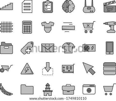Thin line gray tint vector icon set - danger of electricity vector, envelope, minus, add label, movie cracker, t short, building trolley, drill, smartphone, folder, suitcase, crossed cart, survey