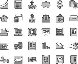 Thin line gray tint vector icon set - dollar vector, calculator, line chart, graph, abacus, calculation, drawer, strongbox, coins, math actions, bar, recession, statistical report, article on, purse
