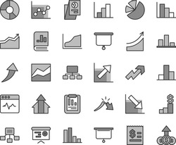 Thin line gray tint vector icon set - growth up vector, bar chart, line, graph, negative, histogram, positive, cardiogram, a crisis, statistical report, scheme, hierarchical, article on the dollar