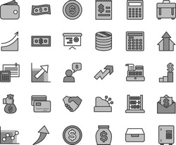 Thin line gray tint vector icon set - growth up vector, calculator, graph, chart, abacus, calculation, case, drawer, cards, column of coins, dollar, article on the, hand shake, wallet, money, arrows