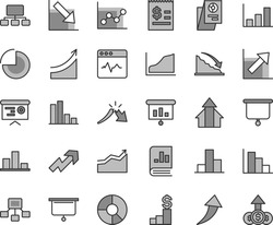 Thin line gray tint vector icon set - growth up vector, pie chart, bar, graph, negative, positive histogram, cardiogram, recession, a crisis, scheme, hierarchical, article on the dollar, board