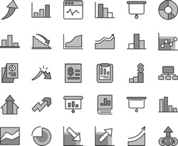 Thin line gray tint vector icon set - growth up vector, pie chart, bar, line, graph, negative, positive histogram, cardiogram, recession, a crisis, statistical report, scheme, article on the dollar