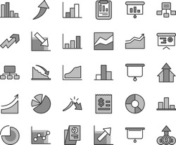Thin line gray tint vector icon set - growth up vector, pie chart, bar, line, graph, negative, histogram, recession, a crisis, statistical report, scheme, hierarchical, article on the dollar, charts