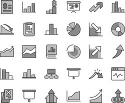 Thin line gray tint vector icon set - growth up vector, pie chart, bar, line, negative, positive histogram, cardiogram, recession, a crisis, statistical report, scheme, article on the dollar, charts