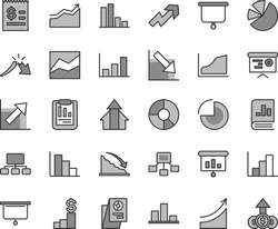 Thin line gray tint vector icon set - growth up vector, pie chart, line, negative, histogram, positive, bar, recession, a crisis, statistical report, scheme, hierarchical, article on the dollar