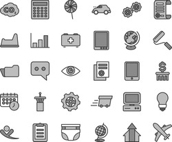 Thin line gray tint vector icon set - nappy vector, bag of a paramedic, potty chair, gears, new roller, bulb, eye, lollipop, gear, retro car, carbon dyoxide, research article, scientific publication