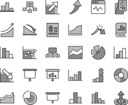 Thin line gray tint vector icon set - pie chart vector, bar, line, graph, growth, negative, histogram, positive, cardiogram, recession, a crisis, scheme, hierarchical, article on the dollar, charts