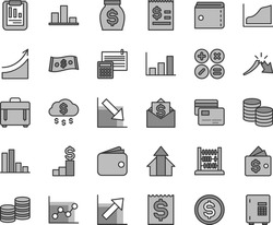 Thin line gray tint vector icon set - purse vector, graph, growth chart, negative, abacus, calculation, case, cards, coins, math actions, bar, a crisis, statistical report, dollar, article on the
