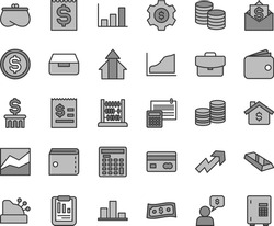 Thin line gray tint vector icon set - purse vector, growth up, line chart, abacus, calculation, suitcase, drawer, coins, reverse side of a bank card, statistical report, dollar, article on the, gear
