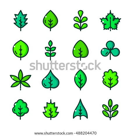 Thin line Green Leaves different forms icons set, Greenery outline logos vector illustration