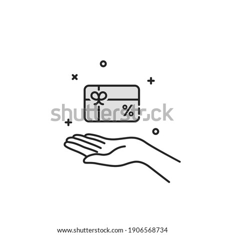 thin line hand holding loyalty card. concept of sign or symbol for retail or store and incentive for payment and promo sale. simple outline benefit logotype graphic linear art design isolated on white Photo stock ©