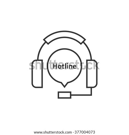 thin line headphone like hot line. concept of ask, ui, tech, callback, crm, faq, feedback, e-commerce. isolated on white background. flat style trend modern brand logotype design vector illustration