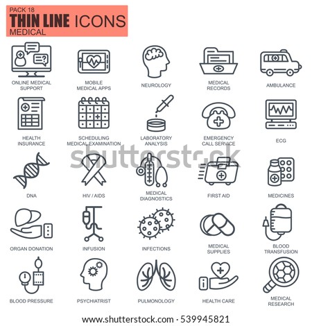 Thin line healthcare and medicine, hospital services, equipment icons set for website and mobile site and apps. Pixel Perfect. Editable Stroke. Simple linear pictogram pack. Vector illustration.