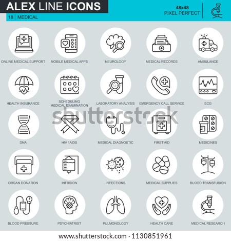 Thin line healthcare and medicine, medical equipment icons set for website and mobile site and apps. Contains such Icons as DNA, Ambulance. 48x48 Pixel Perfect. Editable Stroke. Vector illustration. #1130851961