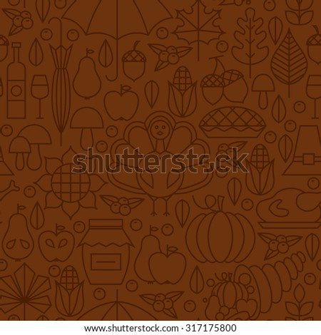 Thin Line Holiday Thanksgiving Day Brown Seamless Pattern. Vector Autumn Thanksgiving Dinner Design and Seamless Background in Trendy Modern Line Style.  Outline Art. Traditional National Celebration