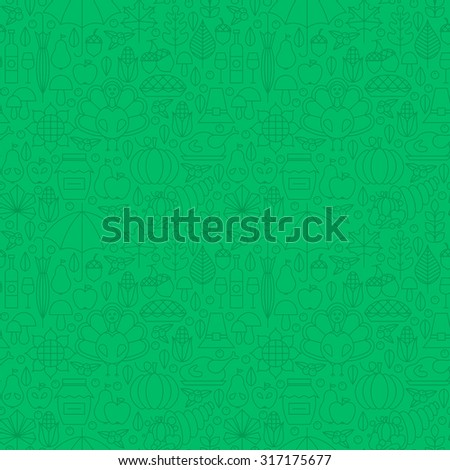 Thin Line Holiday Thanksgiving Dinner Seamless Green Pattern. Vector Autumn Thanksgiving Day Design and Seamless Background in Trendy Modern Line Style. Outline Art. Traditional National Celebration