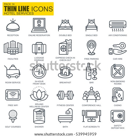 Thin line hotel services and facilities, online booking, travel icons set for website and mobile site apps. Pixel Perfect. Editable Stroke. Simple linear pictogram pack. Vector illustration.