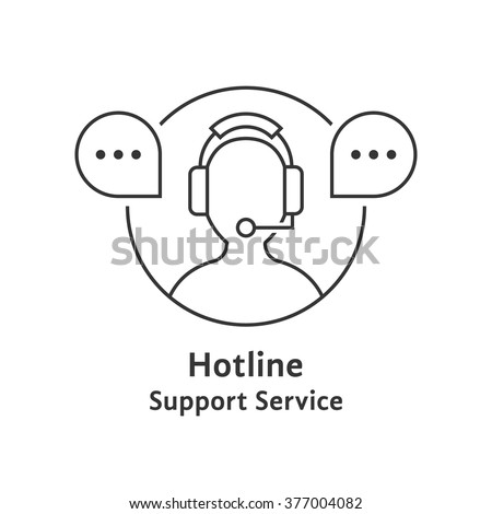thin line hotline icon. concept of ask, ui, tech, callback, crm, faq, feedback, e-commerce, man work. isolated on white background. flat style trend modern brand logotype design vector illustration
