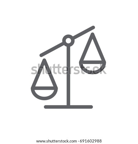 thin line icon business justice scales icon company money winner looser boss trade more or less coin gold weight wt profit growth money scales measure weights symbol