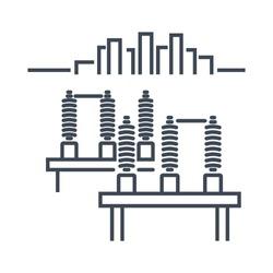 Thin line icon electric high voltage power substation, switchgear, busbar