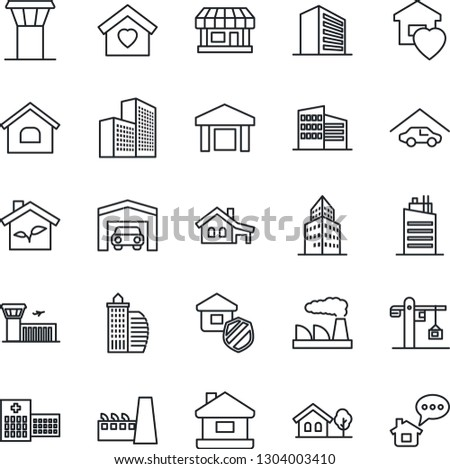 Thin Line Icon Set - airport tower vector, building, office, factory, hospital, store, warehouse, house, with garage, tree, sweet home, city, crane, estate insurance, eco, message
