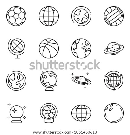 thin line icon set - around the world vector, globe, magic ball, earth, saturn, basketball, soccer, volleyball, bowling