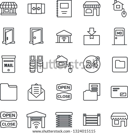 Thin Line Icon Set - 24 around vector, automatic door, shop, medical room, store, container, package, mail, folder, copybook, document, book, mailbox, open close, home control, jalousie, garage gate