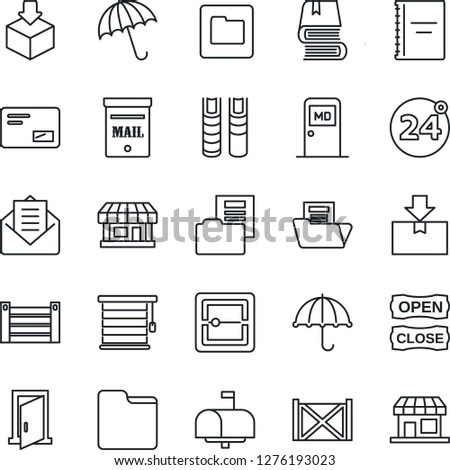 Thin Line Icon Set - 24 around vector, umbrella, medical room, store, container, package, mail, scanner, folder, copybook, document, book, mailbox, open close, jalousie, door, storefront