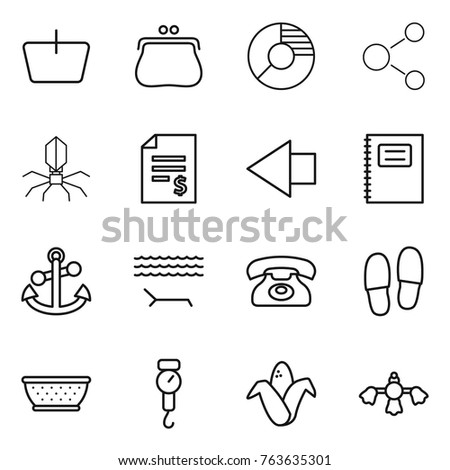thin line icon set   basket ...