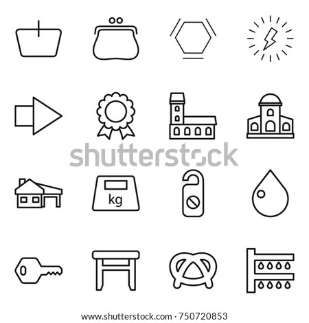 thin line icon set   basket
