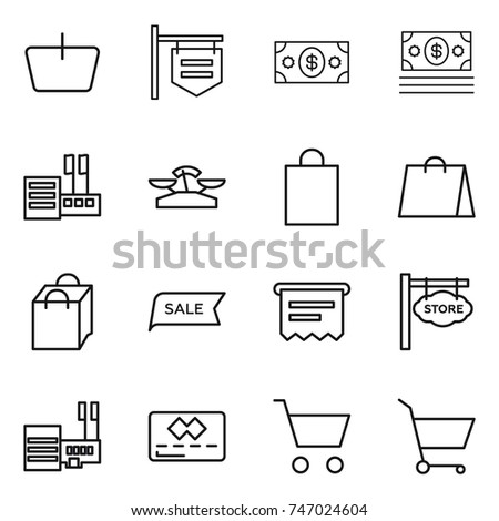thin line icon set : basket, shop signboard, money, store, scales, shopping bag, sale, atm receipt, mall, credit card, cart