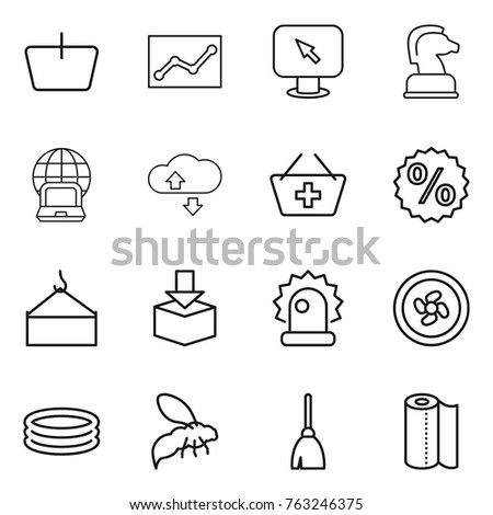 Thin line icon set : basket, statistics, monitor arrow, chess horse, notebook globe, cloude service, add to, percent, loading crane, package, alarm, cooler fan, inflatable pool, wasp, broom