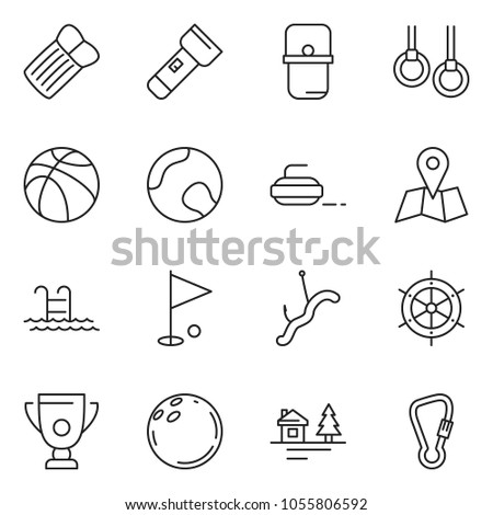 thin line icon set - basketball vector, tennis, torch, rings, pool, golf hole, bowling, cup, chalet, map, curling, fishing, handwheel, pan, inflatable mattress, spring hook