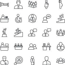 Thin Line Icon Set - bed vector, speaking man, pedestal, team, manager place, disabled, doctor, pregnancy, client, speaker, group, user, desk, meeting, career ladder, search, estate agent