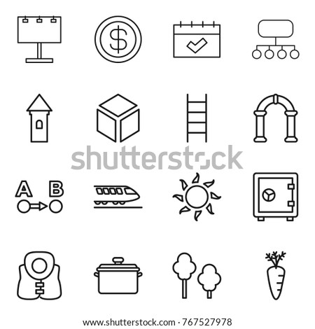 Stock Photo Thin line icon set : billboard, dollar, calendar, structure, tower, 3d, stairs, arch, route a to b, train, sun, safe, life vest, pan, trees, carrot