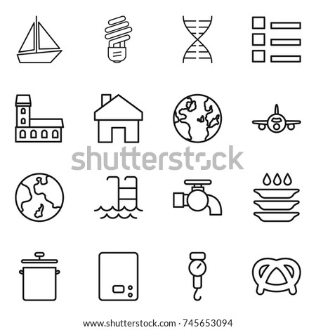 thin line icon set   boat  bulb