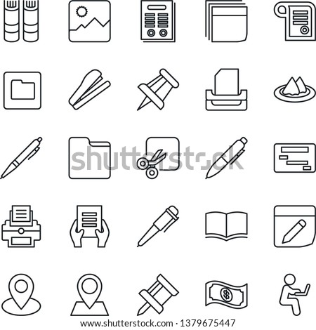 Thin Line Icon Set - book vector, pen, document, drawing pin, gallery, folder, notes, cut, blank box, printer, paper tray, contract, stapler, serviette, cash, schedule, man with notebook #1379675447