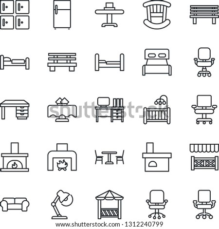 Thin Line Icon Set - cafe vector, bed, checkroom, office chair, desk, bench, fireplace, lamp, bedroom, children room, cushioned furniture, restaurant table, alcove, fridge
