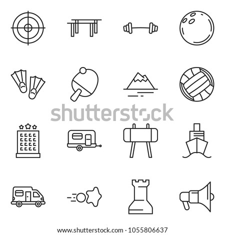 thin line icon set - camper vector, camp trailer, volleyball, paintball, mountain, barbell, beams, horse, bowling, target, hotel, flippers, ping pong, chess rock, cruiser, loudspeaker