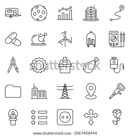 thin line icon set - chart vector, speaker, office building, drawing compass, jackhammer, chicken, ham, sun, crucifixion, star ribbon, vote, power line pillar, socket, camp trailer, route, hotel