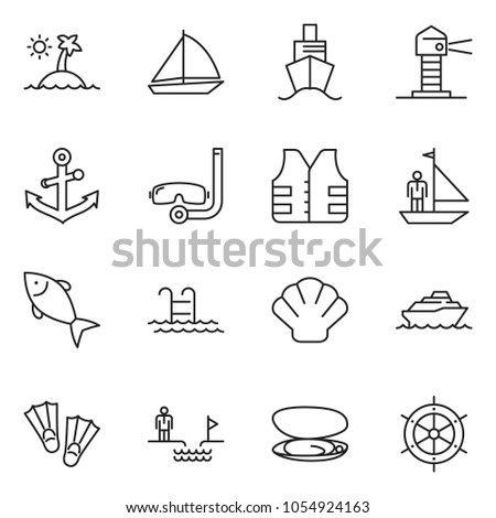 thin line icon set - chasm vector, manager yacht, fish, sail boat, cruiser, lighthouse, shell, island, life vest, anchor, pool, flippers, diving, handwheel