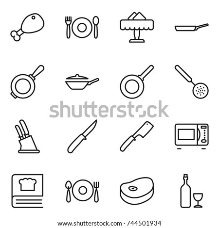 thin line icon set : chicken leg, cafe, restaurant, pan, skimmer, knife holder, chef, microwave oven, cooking book, fork spoon plate, steake, wine