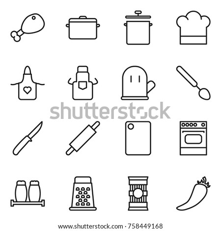 Thin line icon set : chicken leg, pan, cook hat, apron, glove, big spoon, knife, rolling pin, cutting board, oven, salt pepper, grater, pasta, hot
