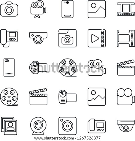 Thin Line Icon Set - clapboard vector, film frame, reel, camera, video, phone back, mobile, gallery, photo, web, intercome, surveillance