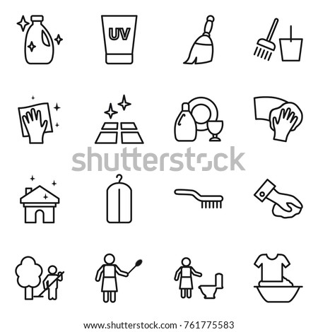 Thin line icon set : cleanser, uv cream, broom, bucket and, wiping, clean floor, dish, house cleaning, dry wash, brush, garden, woman with duster, toilet, handle washing