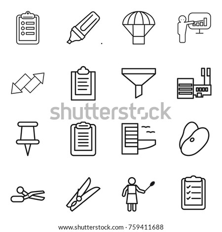 Thin line icon set : clipboard, marker, parachute, presentation, up down arrow, funnel, mall, pin, hotel, beans, scissors, clothespin, woman with duster, list