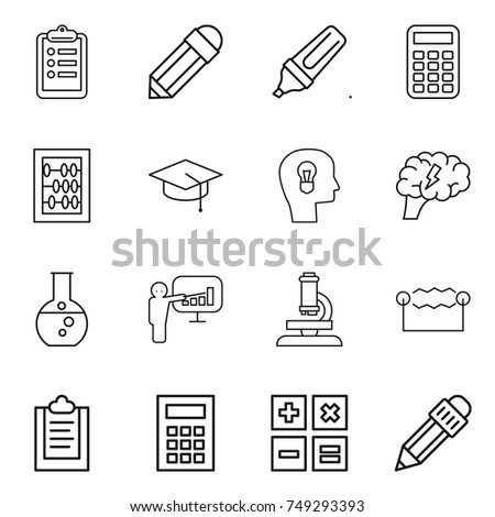 thin line icon set : clipboard, pencil, marker, calculator, abacus, graduate hat, bulb head, brain, round flask, presentation, microscope, electrostatic